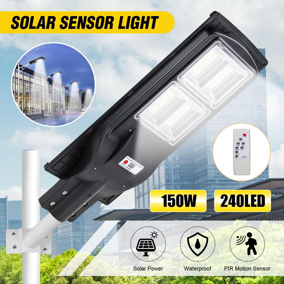 150W 240 LED Solar Street Light Light Control+Radar Sensing+Remote Control Waterproof Outdoor Garden Fence Wall Timer Lamp