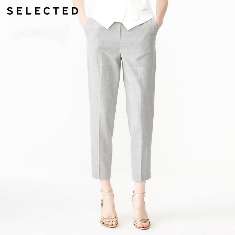 SELECTED Women's Straight Fit Grey Plaid Crop Pants SIG | 419118514