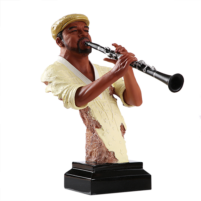 Abstract Pub Clarinet Player Bust Handmade Resin Instrumentalist Statue Musician 1