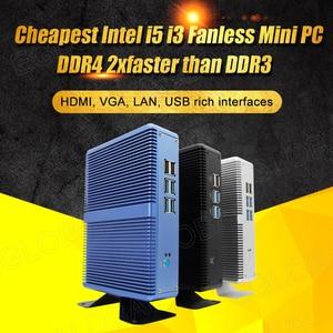 Eglobal Cheapest Fanless Mini PC Windows 10 Pro Intel Core i7 i5 7200U i3 7100U Barebone Computer DDR4/DDR3 2.4GHz 4K HTPC WiFi