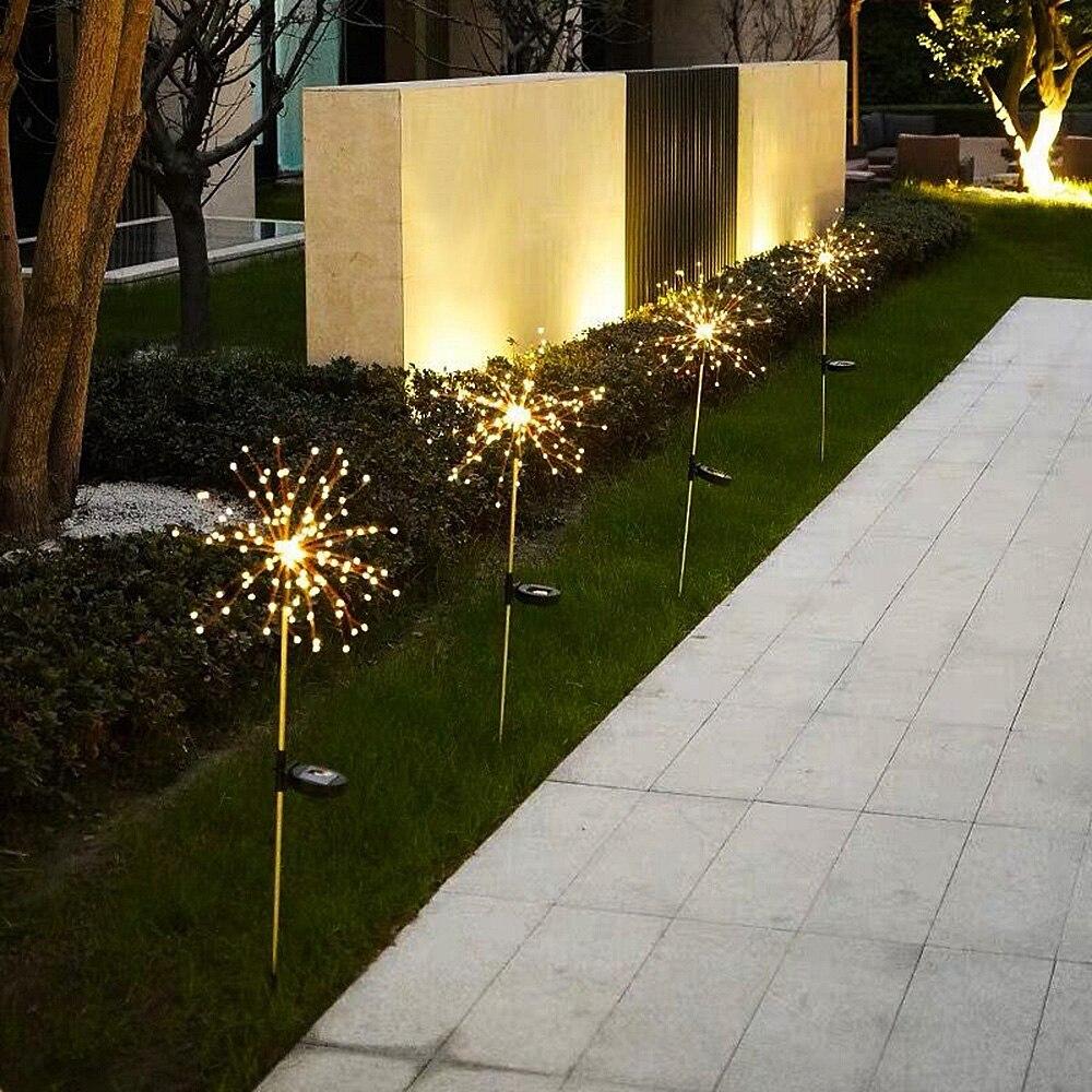 Solar Powered LED Fairy Lights Flash Fireworks Dandelion Lamp Wedding Christmas Party Outdoor Garden Landscape Lawn Decoration