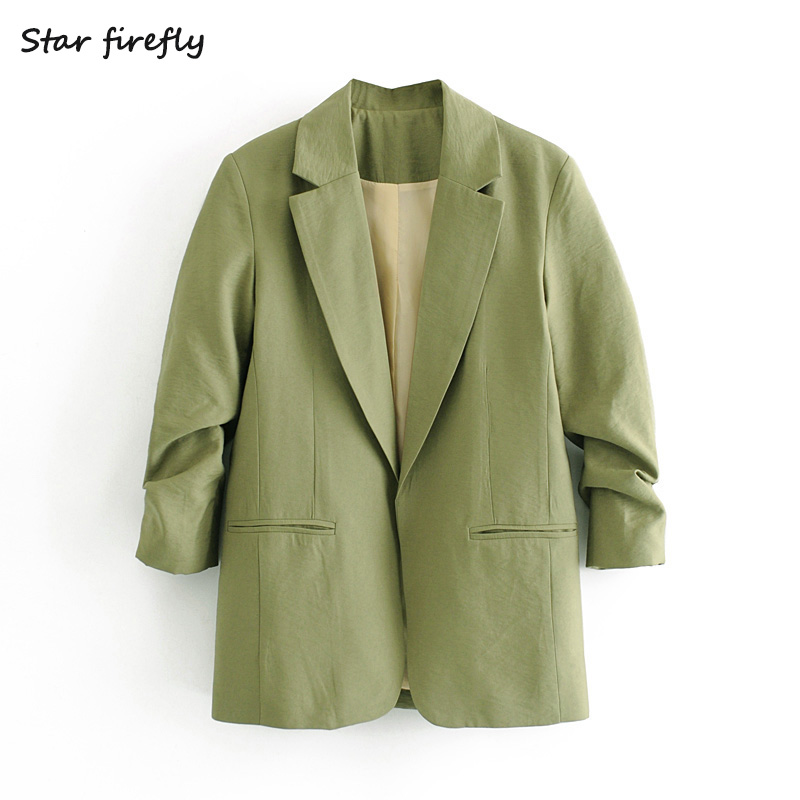 Star Firefly Fashion Suit Female 2020 Spring Casual Loose Suit Collar Solid Color Rollable Sleeve Elegant Blazer Women