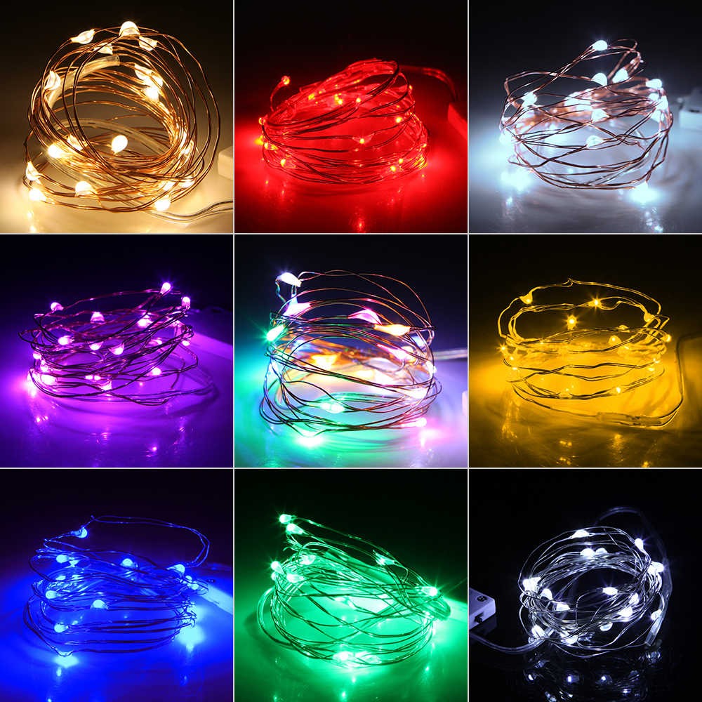 Led String Lights 2M 20leds CR2032 Battery Operated Copper Wire Fairy Lights for Christmas Garland Decoration
