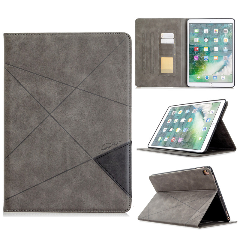 gray Red Luxury Flip PU Leather Tablet Case For iPad 10 2 2019 Wallet Stand Funda For iPad