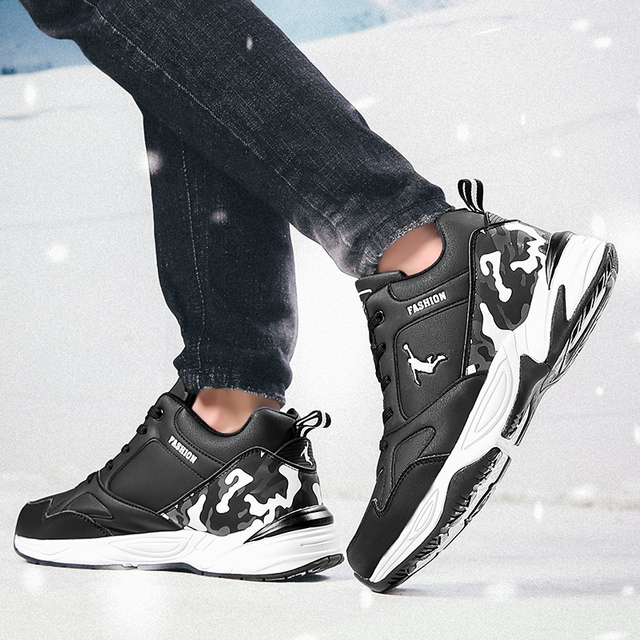 Winter sports running plus velvet thick warm and wearable students white plus cotton youth winter men's tide large size shoes 1