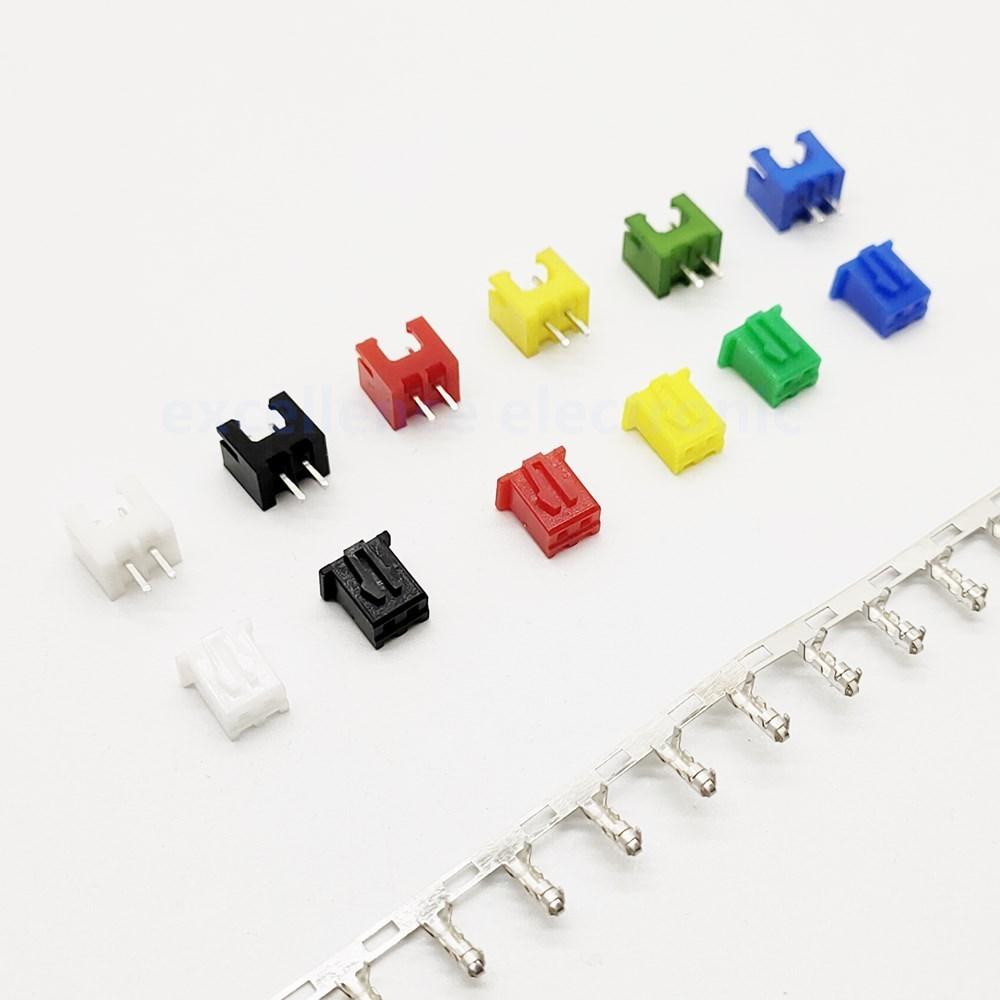 10 conjuntos xh2.54 conector kits 2.54mm passo 2p endireitamento pino + habitação friso 6 cores disponíveis