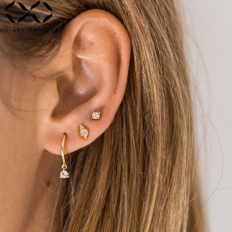 Real 925 pendientes de plata para mujer pequeños pendientes de circonita de cristal regalo de niña cartílago Piercing pendiente Punk hembra arete Q5