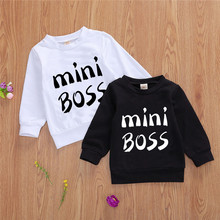 Pullover Sweater Girl Toddler Boy Cotton Letter Casual for Spring-Fall Crew Hemmed Cuff-Basic