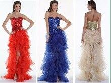 бесплатная доставка платье Vestido де феста 2018 милая длинные блестками органзы оборками Кристалл сексуальный пром платья невесты