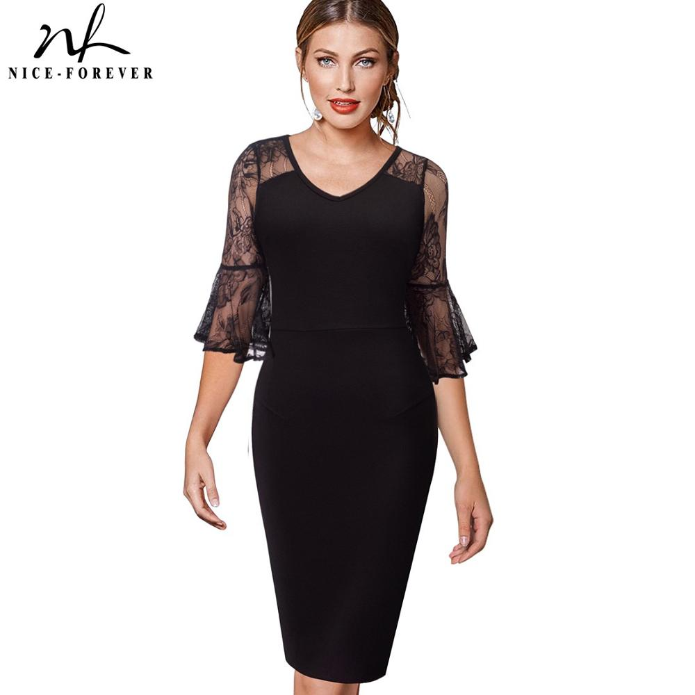 Nice-forever Elegant Floral Lace Sleeve V-neck Vestidos Business Party Women Bodycon Dress B394