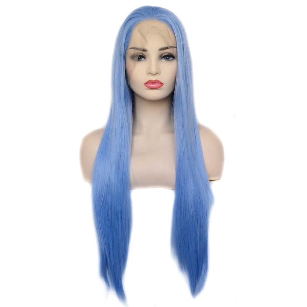 Vogue Queen Light Blue ยาวตรงวิกผมลูกไม้ด้านหน้าด้านหน้าสวมใส่ทุกวันสำหรับสตรี