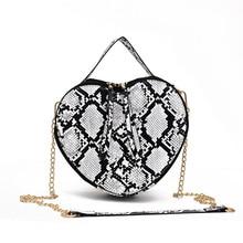 2019 summer new wave Korean version of the fashion wild Messenger bag chain snake pattern love shoulder Vintage