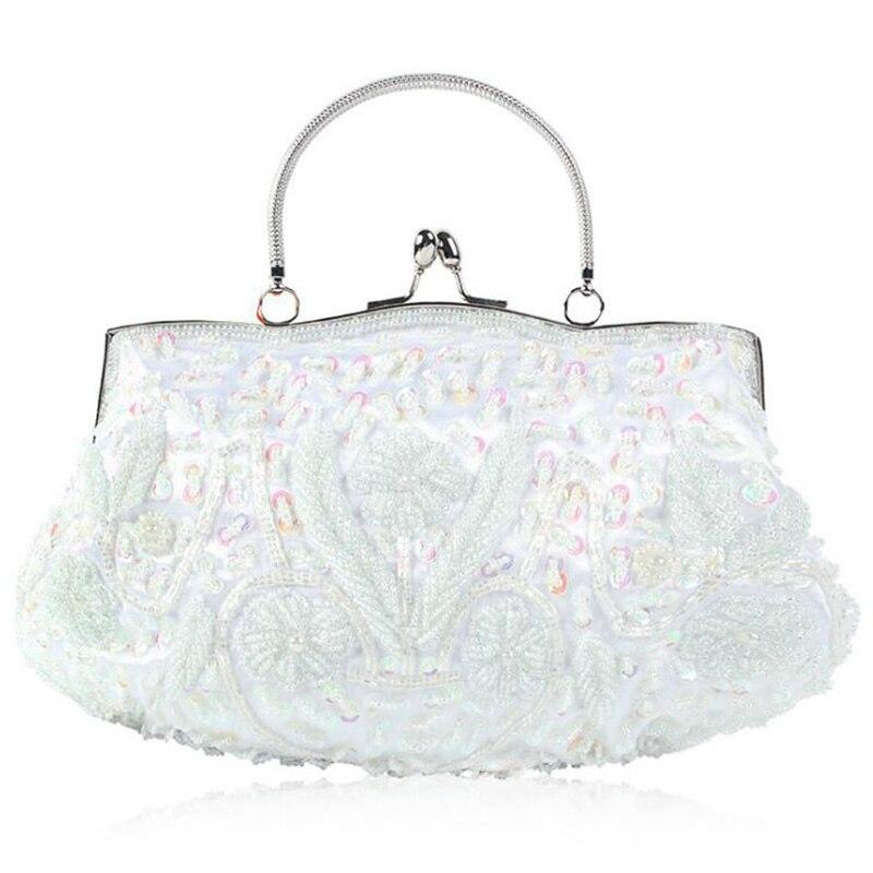 Женские вечерние клатчи ручной работы с белым бисером и пайетками в металлической оправе, сумочка для невесты, свадьбы, торжественного ужин