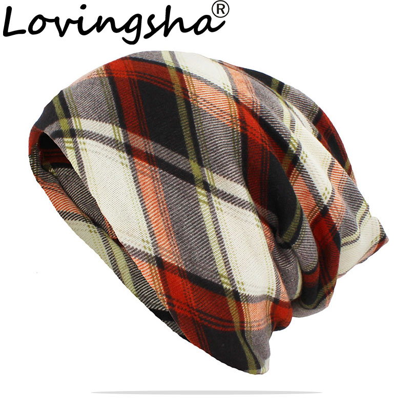 LOVINGSHA Brand Autumn Winter Women Dual-use Hats Scarf Thin Classical Design Men Skullies And Beanies Face Mask Ladies HT155