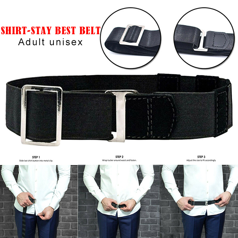 Hot Fashion Shirt Holder Adjustable Near Shirt Stay Best Belt For Women Men Work Interview Black Color 120cm Cintura Camicia H66