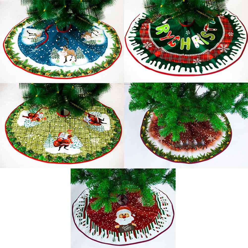 90cm Cartoon Santa Claus Christmas Deer Tree Skirt Aprons Christmas Tree Carpet Christmas Decorations for Home New Year