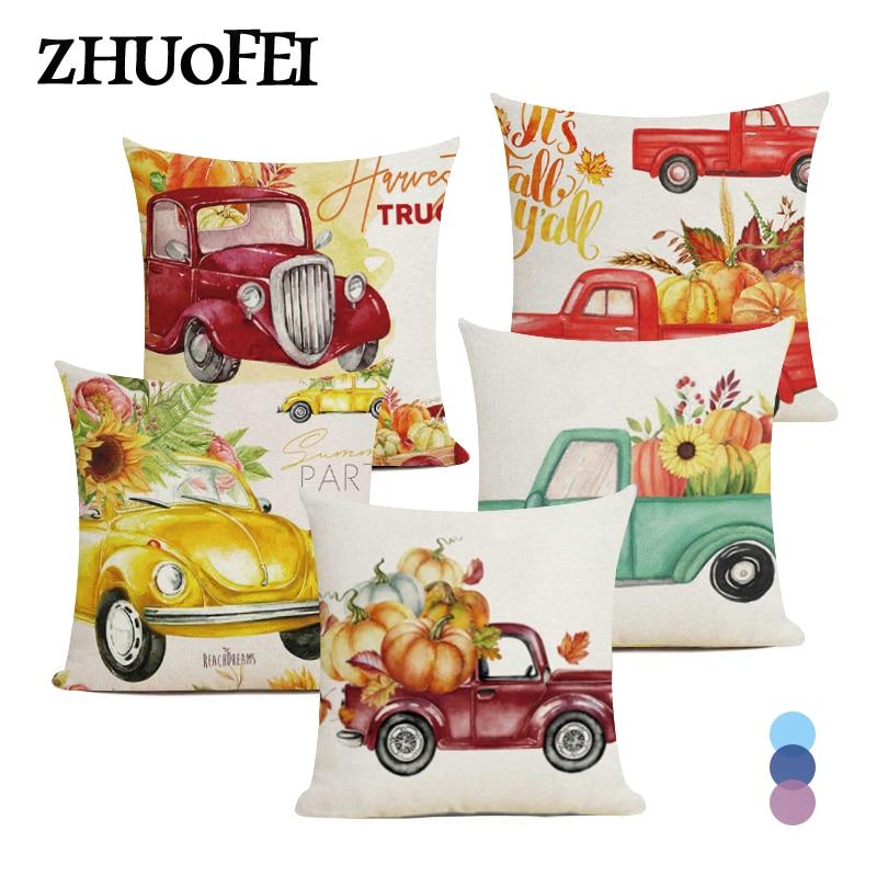 Happy Thanksgiving Cushion Cover 45X45CM Home Decor Pumpkin Truck Print Pillow Case Seat Chair Throw Pillowcase Linen Pillowslip