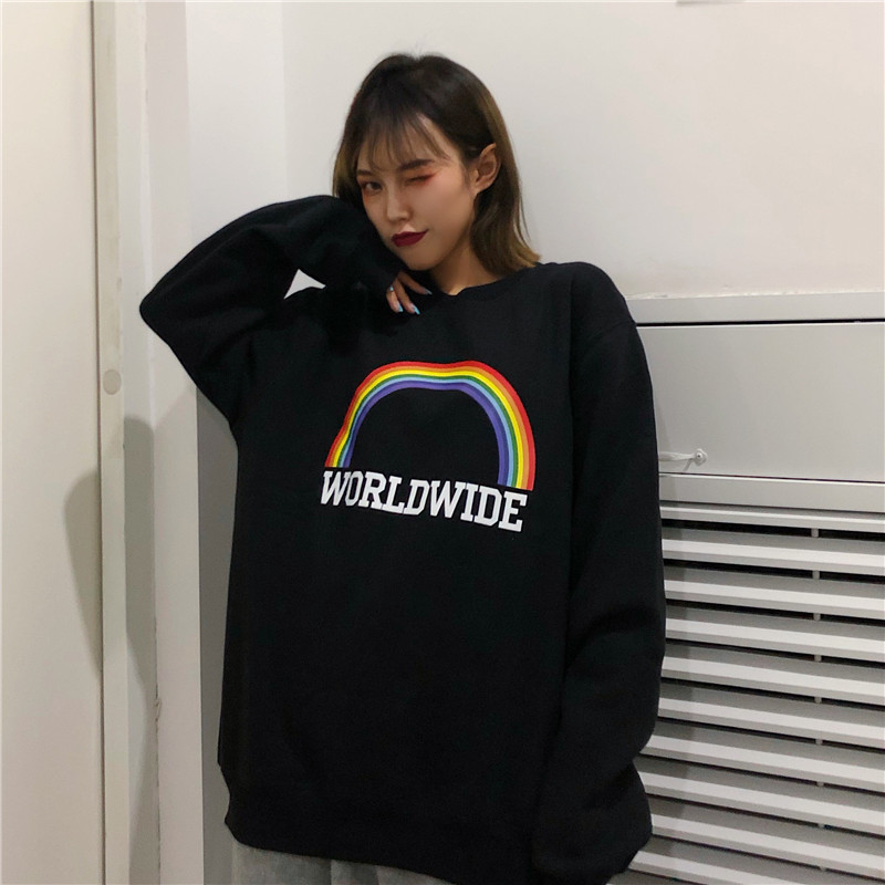 Women's Sweatshirt Korean Edition Loose Large Size Rainbow Harajuku Lazy Wind Weird Thin Jacket Early Hoodie Jacket Punk Clothes