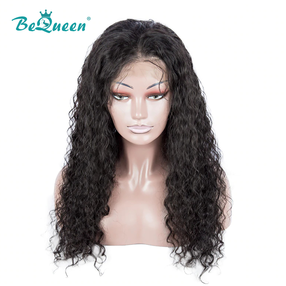 Image 2 - BeQueen Human Hair Wigs Peruvian Water Wave Wig Pre plucked Hairline Human Hair Wig For Black Women-in Human Hair Lace Wigs from Hair Extensions & Wigs