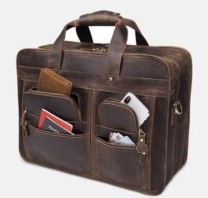 Image 1 - Luufan Hoogwaardige Formele Lederen Zakelijke Tas 100% Koeienhuid Aktetas Tas Voor 15 16 17 Inch Laptop Handtas Schoudertas dual Gebruik
