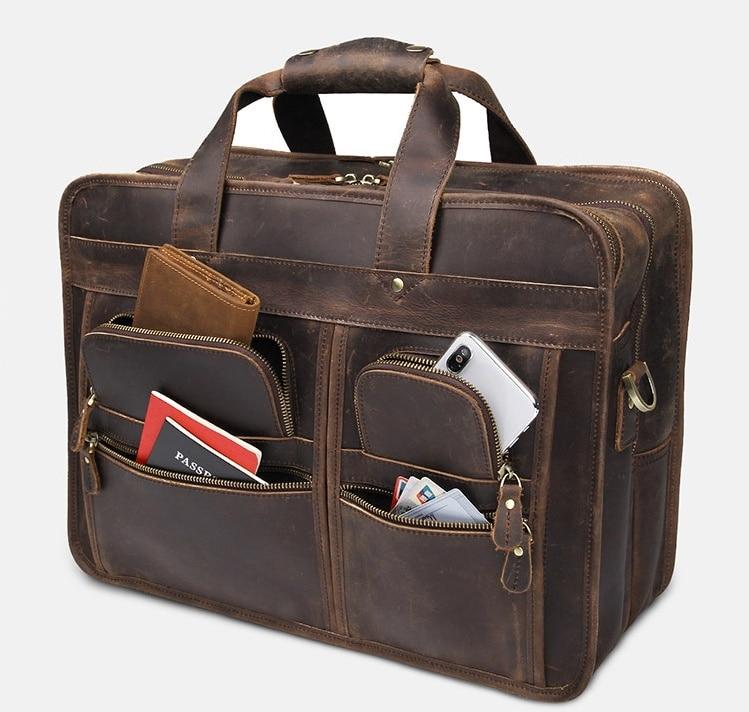 Luufan Top Grade Formal Leather Business Bag 100% Cowhide Briefcase Bag For 15 16 17 Inch Laptop Handbag Shoulder Bag Dual Use