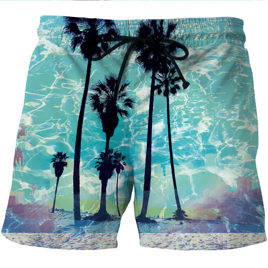 Digital Printing Men's Quick Dry Shore Shorts Sea Wave Star Sky Printing Shorts With Side Pockets And Leisure Shorts