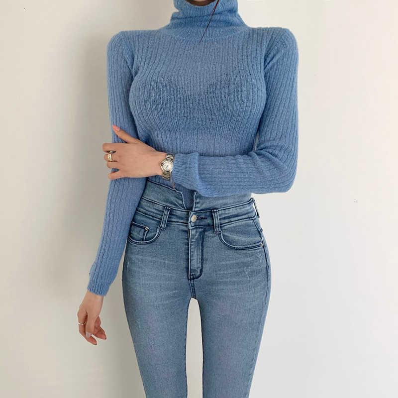 Twotwinstyle branco coreano camisola de malha para as mulheres gola alta manga longa outono magro pulôver roupas femininas moda nova 2019