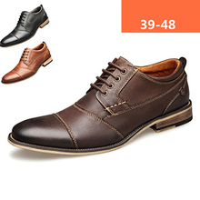 Mens Shoes Oxford Brown Formal Fashion Luxury Brand Black Lace-Up Wood Heel-Size 39-48