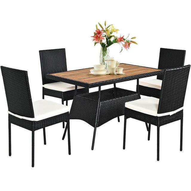 5 PCS Patio Dining Table w/Wood Top Cushioned Chairs  1