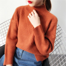 High quality sweater,Women's Half Turtleneck Sweater, Loose-Fit Crew Neck Solid Color Versatile Diagonal Stripes Base Shirt crew neck color block panel rib design sweater