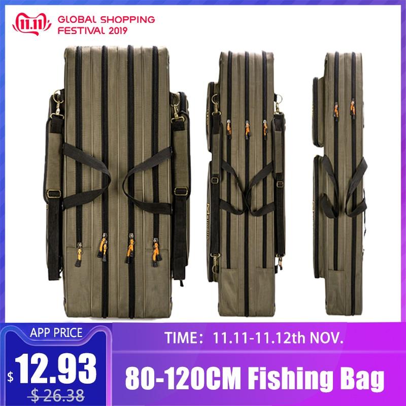 80cm 110cm 120cm Thick Oxford Fishing Bags Foldable Fishing Rod Fishing Pole Tools Storage Bag Large Capacity Pesca Bag XA114G