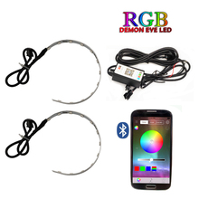 Auto RGB headlight Projector Led Devil Eye Demon Eye Lamp For Car App Remote Control projector headlamp angles eye