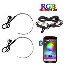 Otomatik RGB far projektör Led şeytan göz iblis göz lambası araba App uzaktan kumanda projektör far açıları göz