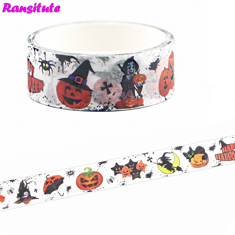 Ransitute Halloween Horror Washi Tape DIY Japanese Hand Sticker Fashion Book Lace Mask Decorative Tape Gifts R665