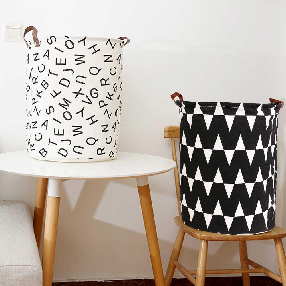 Dobrável cesta de lavanderia grande capacidade redonda armazenamento bin saco grande cesto dobrável roupas brinquedo titular balde organizador 40x50cm