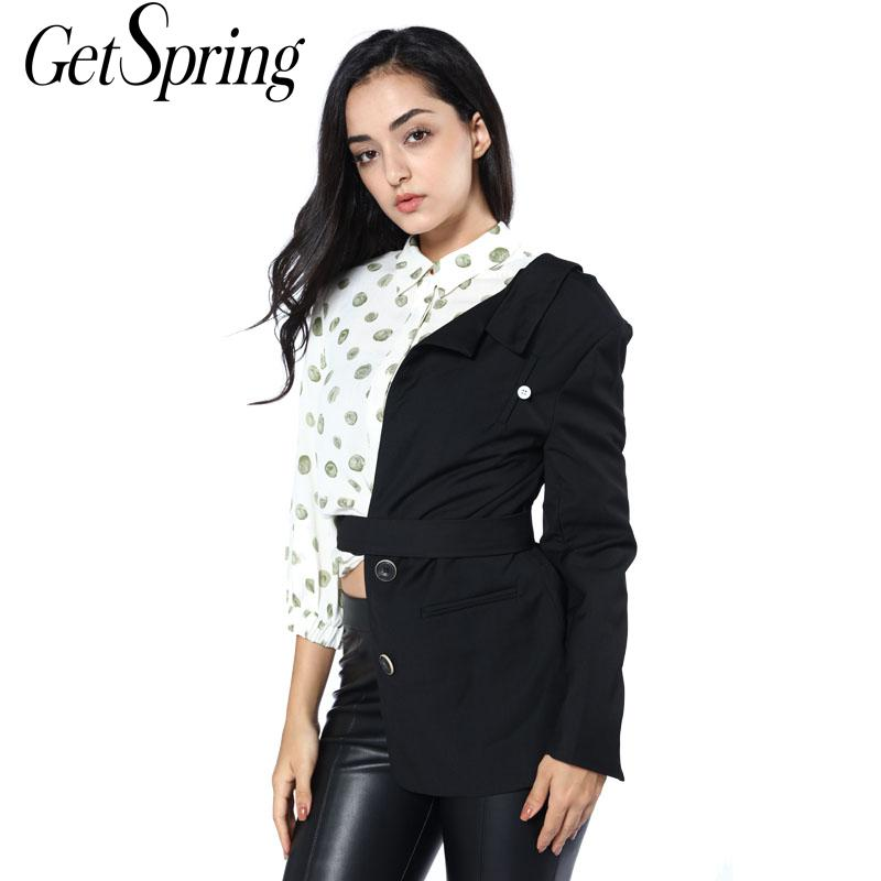 GetSpring Women Blazer Special Blazer Jackets Half Sui Waist Belt Designer Fashion Blazer Women Coat Long Sleeve Personality New