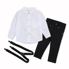 Outfits Children Costume-Set Boys Fashion Gentleman Clothing Trousers Shirt Suspender