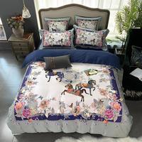 Vintage Flowers Horse printed Bright Color Bedding Set 100%Egyptian Cotton Soft Duvet Cover Bed Sheet Set King Queen Size 4 Pcs