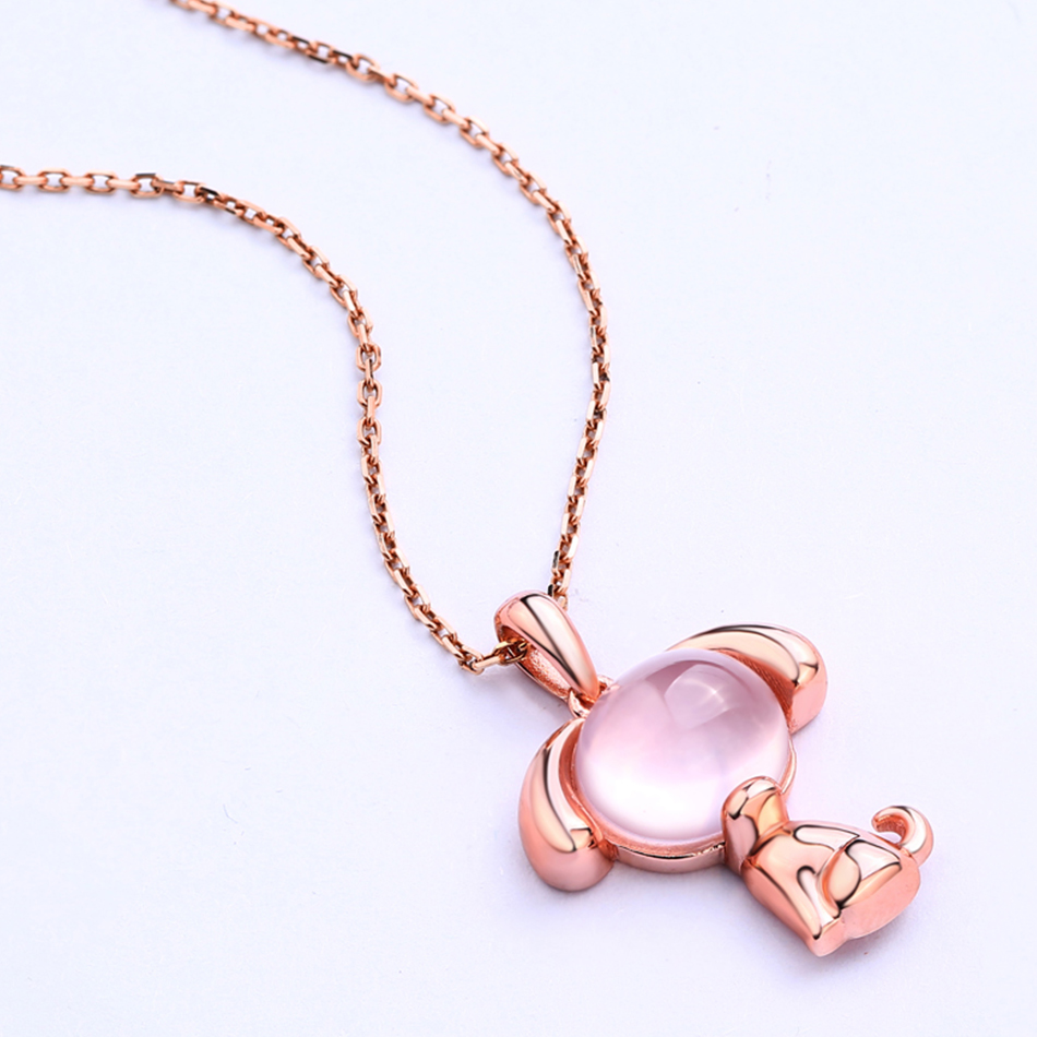 ALLNOEL 2019 New S925 Rose Quartz Pendant Necklaces Natural Pink Gemstone Lovely Dog Charm Link Chain Choker Necklace Jewelries (7)
