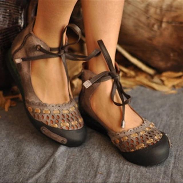 Lace Up Flock Summer  Sandals