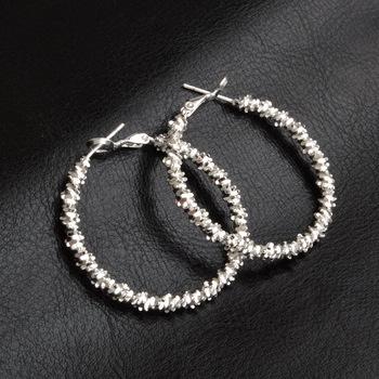 925 Sterling Silver Round Loop Irregular Scaly Hoop Earring For Women 45MM Gold Color Big Circle Jewelry Gift image