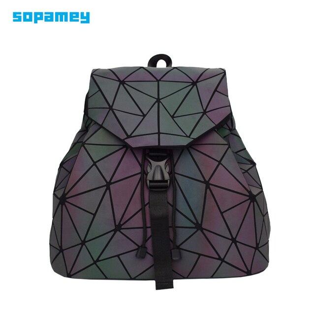 Bao Mochila con cordón luminoso para mujer, morral diario con geometría, mochilas escolares plegables para adolescentes