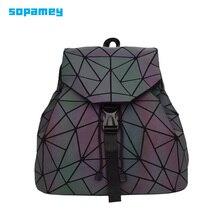 Bao mochila feminina luminosa com cordão, bolsa geométrica diária, dobrável, para escola e adolescentes