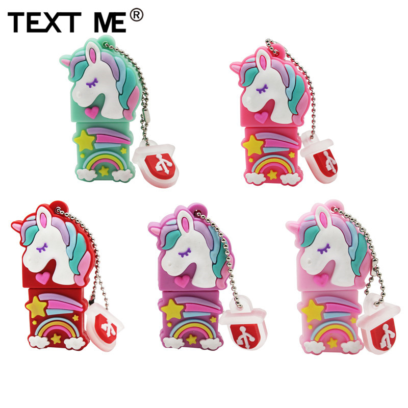 TEXT ME Usb2.0 Beautiful Colored Unicorn Usb Flash Drive Usb 2.0 4GB 8GB 16GB 32GB 64GB Pendrive Gift Usb