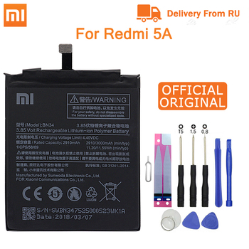 Xiao Mi Original Phone Battery BN34 for Xiaomi Redmi 5A 5.0 Replacement Battery 2910mAh High Capacity Phone Batteries + Tools qrxpower original bm37 replacement battery for xiaomi mi 5s plus real capacity 3800mah li ion phone battery tools sticker