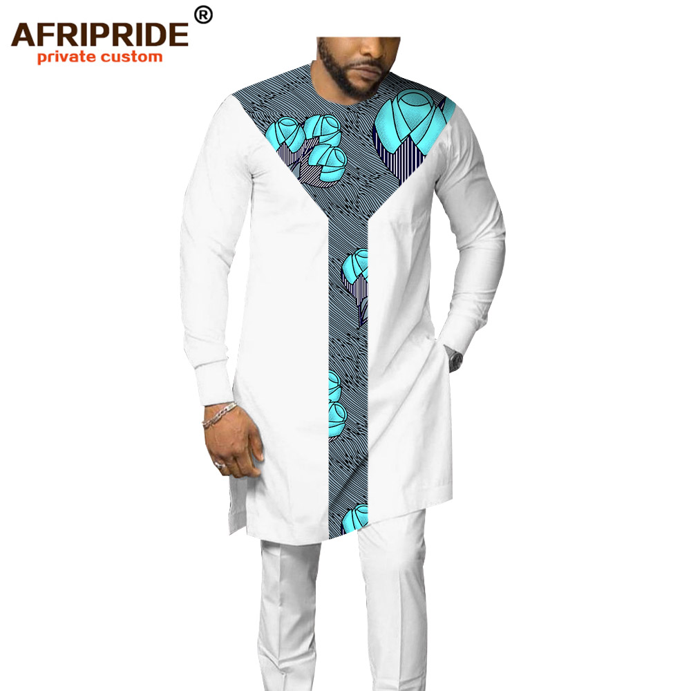 2019 African Men`s Suit Dashiki Clothing Tribal Outfit Print Shirt+pant 2 Piece Set With Pocket Bazin Riche AFRIPRIDE A1916007