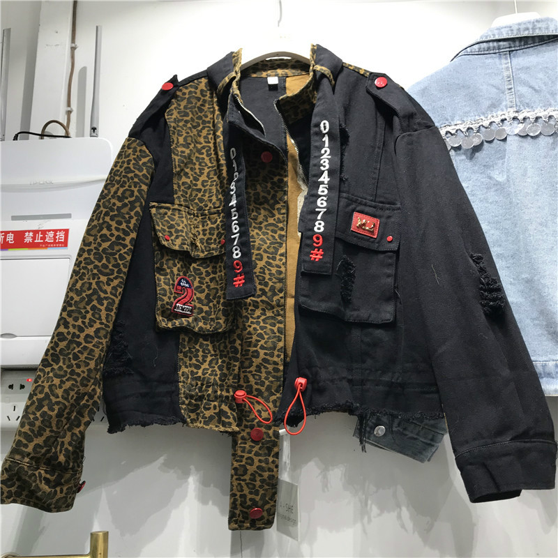 Personalized Leopard Denim Jacket Female Spring 2020 New Stand Collar Zipper Loose-Fit Leopard Lettering Jeans Jacket Ropa Mujer