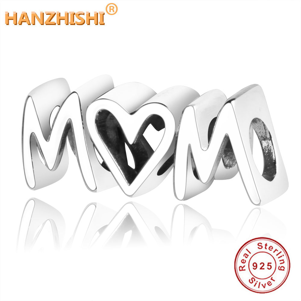 2019 Mother's Day Authentic 925 Sterling Silver MOM Heart Charms Beads Fit Original Pandora Charm Bracelet DIY Jewelry Making(China)