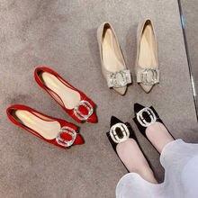 Женская обувь 2021 на осень; Новинка; Острый замшевая плоском