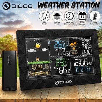 DIGOO DG-TH8988 estación meteorológica de Color LCD + Sensor remoto exterior termómetro humedad Despertador con función Snooze Sunrise Sunset calendario